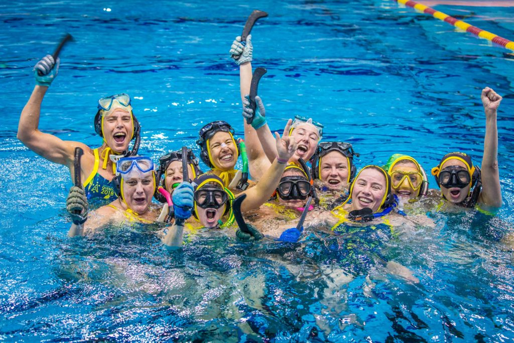 The Australian Women's Masters team celebrate their gusty 2-1 win over Colombia in the semi final.